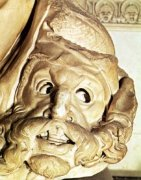 Detail of a tragic mask by Michelangelo