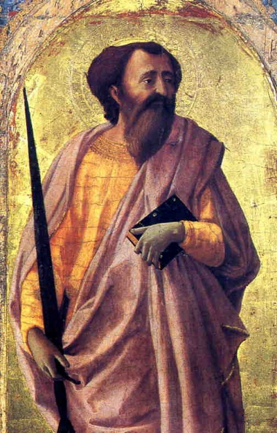 St Paul by Masaccio, tempera on wood, San Matteon Museum, Pisa, 58.5 x 32cm