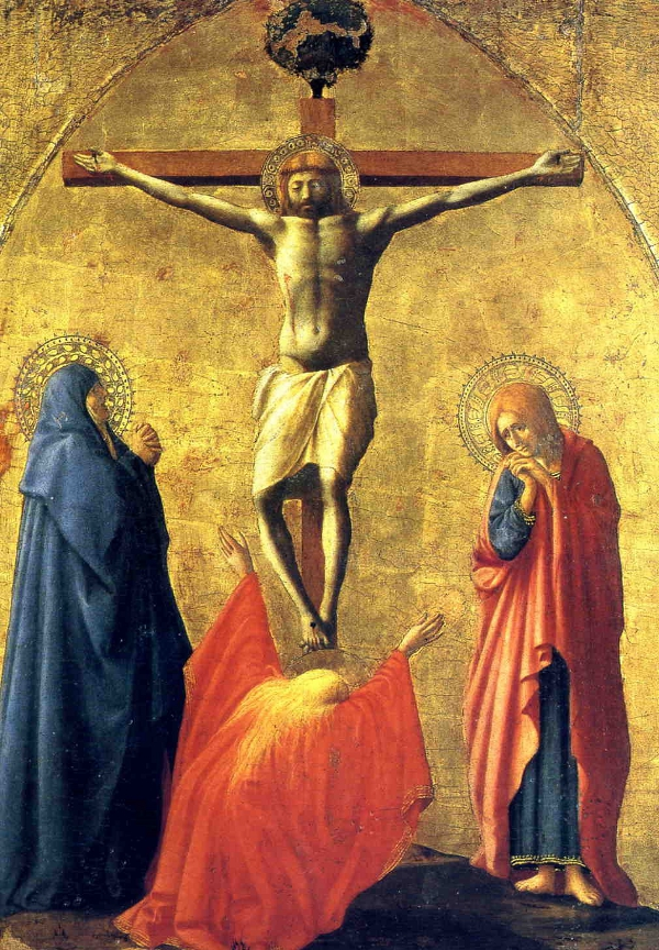 Crucifixion by Masaccio, tempera on wood 82.1 x 63.5cm, Capodimonte Museum, Naples.