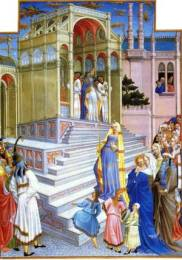 Limbourg Brothers, The Purification of the Virgin. Illuminated Manuscript