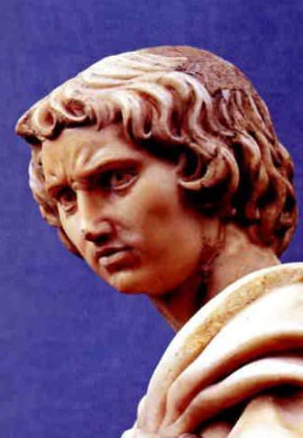 Michelangelo's St Proculus. Detail of the saint's head.