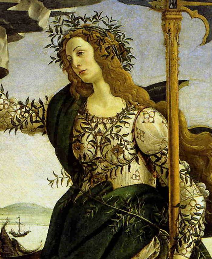 Detail of Pallas Athene from Botticelli's Athene and the Centaur
