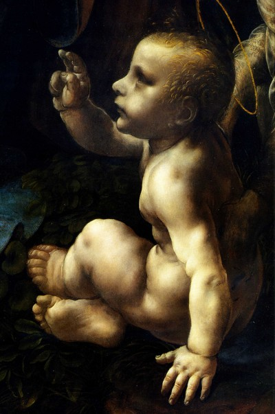 Detail of the Christ Child from Leonardo da Vinci's Virgin of the Rocks.