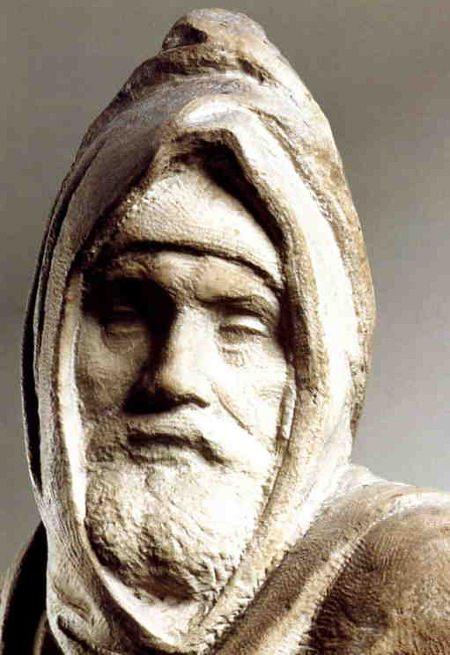 Detail from the Florentine Pieta by Michelangelo.