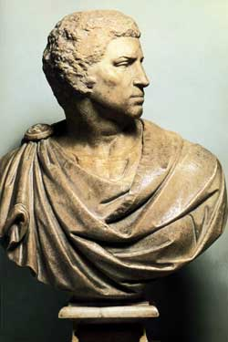 Michelangelo's bust of Brutus.