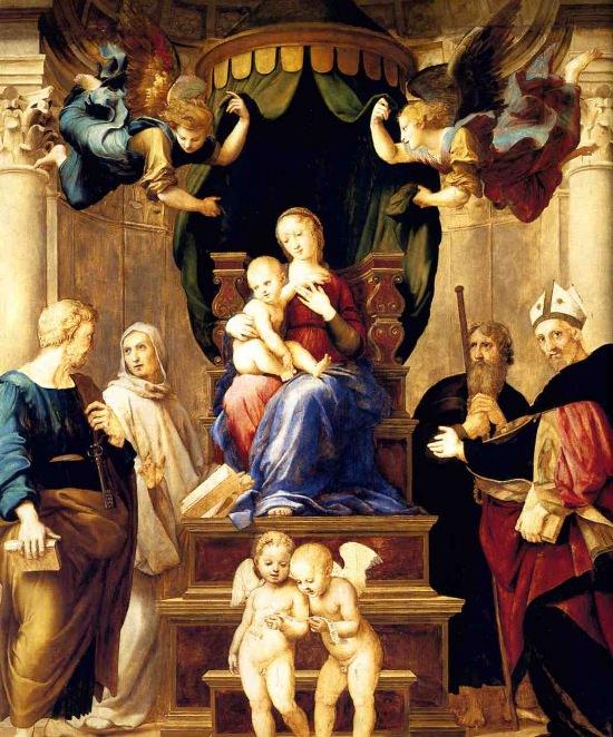 Madonna Baldacchino by Raphael. <br> Oil on panel, 249x217 cm.