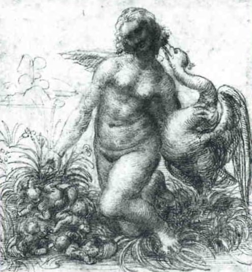Study for a Kneeling Leda, Leonardo da Vinci