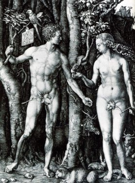 Adam and Eve etching by Durer.