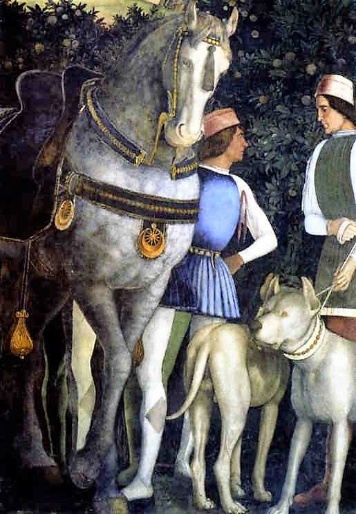 Andrea Mantegna, Retainers with horse and dogs.