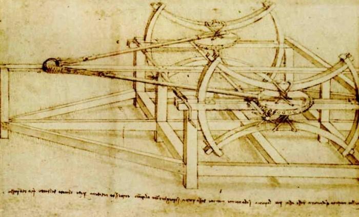 Machine for hurling stones and bombs by Leonardo da Vinci.