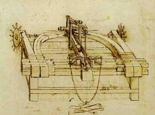 Leonardo da Vinci's design to catapult stones.