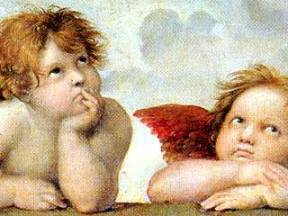 Cherubs, detail from the Sistine Madonna by Raphael