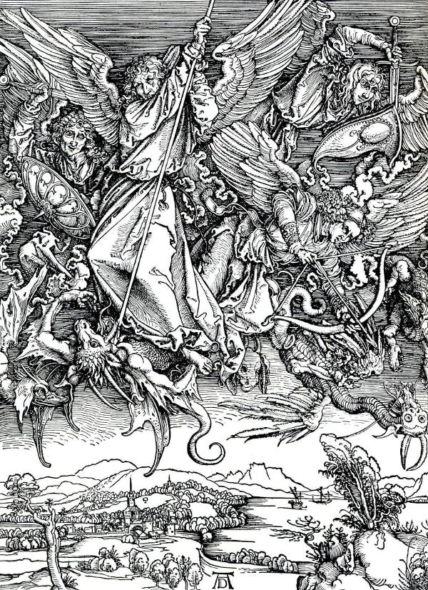 St Michael does battle with a dragon. Albrecht Durer's outstanding woodcut.
