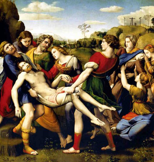 The Baglioni Altarpiece by Raphael. <br> Oil on panel, 184x176cm.