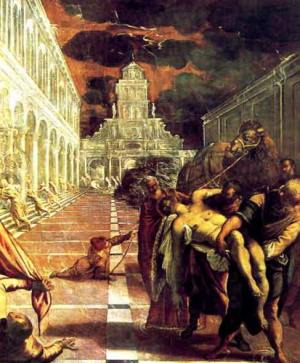 The saint's body brought to Venice by Tintoretto.