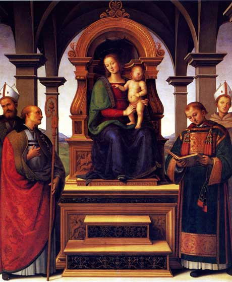 Virgin and Child with four Saints by Perugino