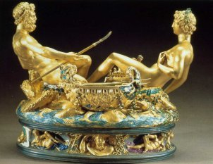 Saltcellar by Benvenuto Cellini, gold and enamel, 1540-43