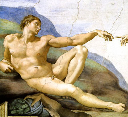 The Creation of Adam by Michelangelo. Detail from the Sistine Ceiling Fresco.
