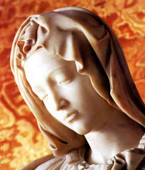 Detail from Michelangelo's Rome pieta, the head of Mary.