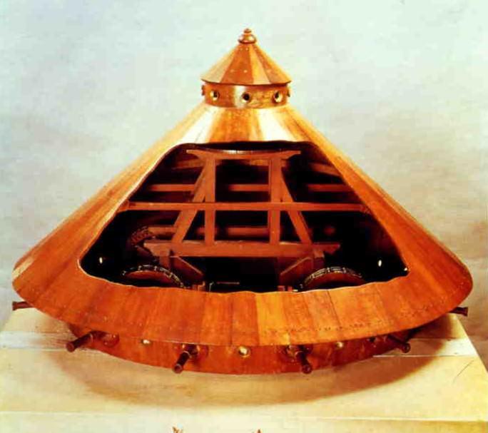 Model for an armoured car based on Leonardo da Vinci's drawings.
