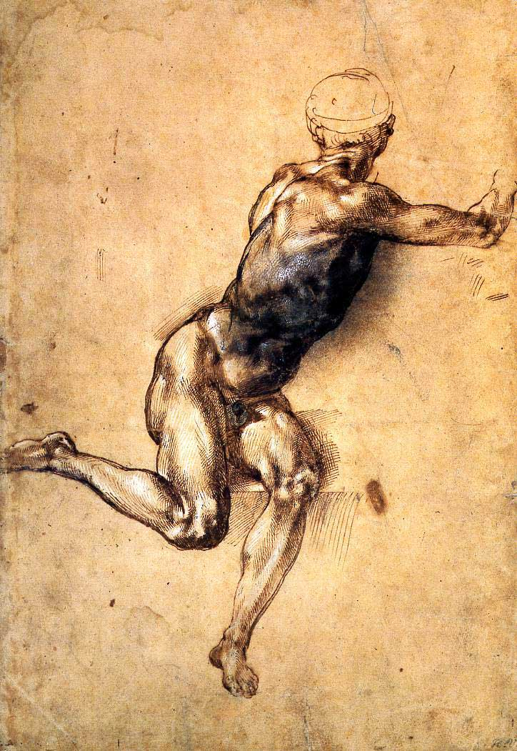 Syudy for a seated male nude, Michelangelo
