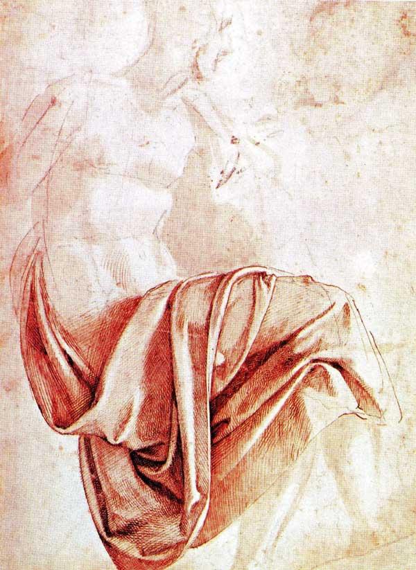 Michelangelo, study of drapery