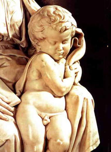 Detail from Michelangelo's Bruges Madonna, the Christ Child.