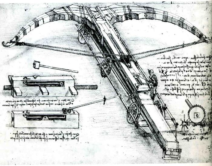 Leonardo da Vinci's design for a giant crossbow.