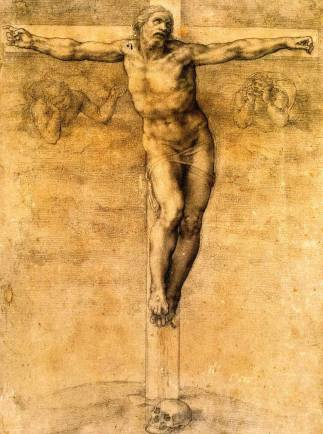 Michelangelo, study for the Crucifixion of Christ.