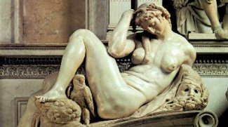 The female Night from the tomb of Giuliano de' Medici. (Michelangelo)