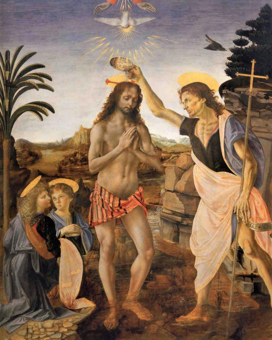 The Baptism of Christ, 1474-1475, Verrocchio and Leonardo da Vinci.