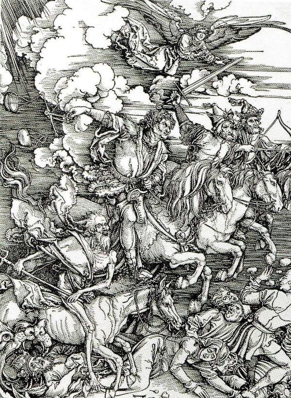 Durer's horsemen ride forth spreading death and destruction.