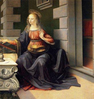 The Virgin Mary from The Annunciation by Leonardo da Vinci.