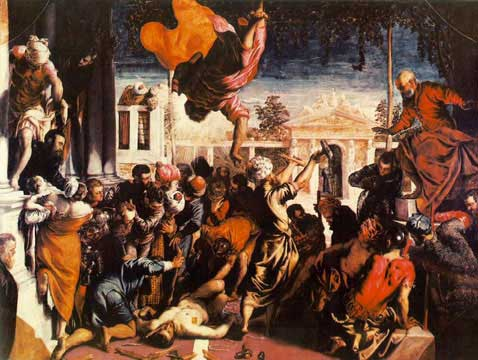 Tintoretto's The miracle of the Slave. oil on canvas, 1548, Gallerie dell' Accademia Venice