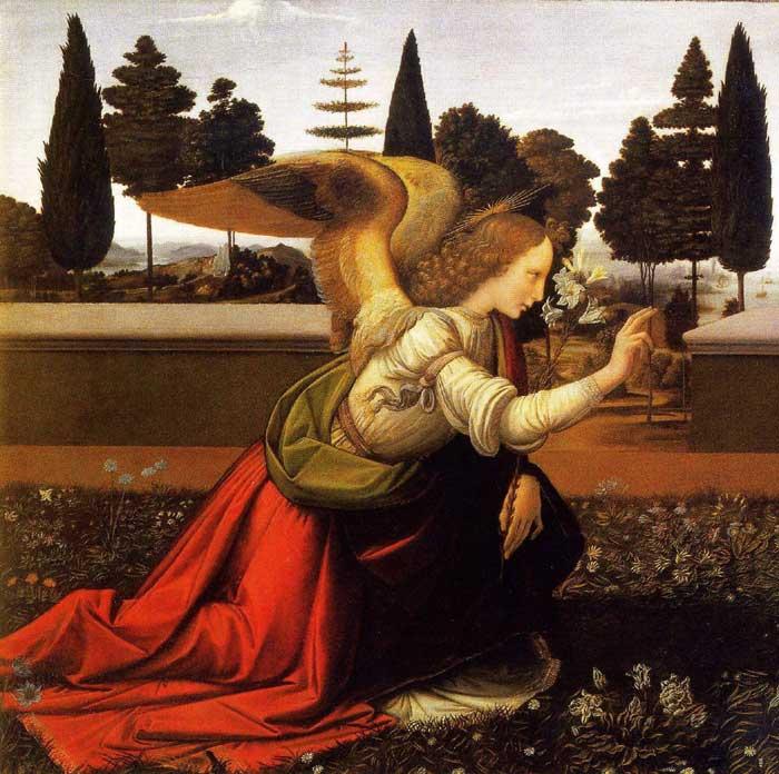 Detail of the Archangel Gabriel from the Annunciation by Leonardo da Vinci