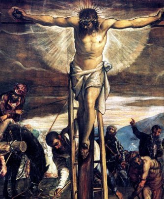Christ crucified by Tintoretto.