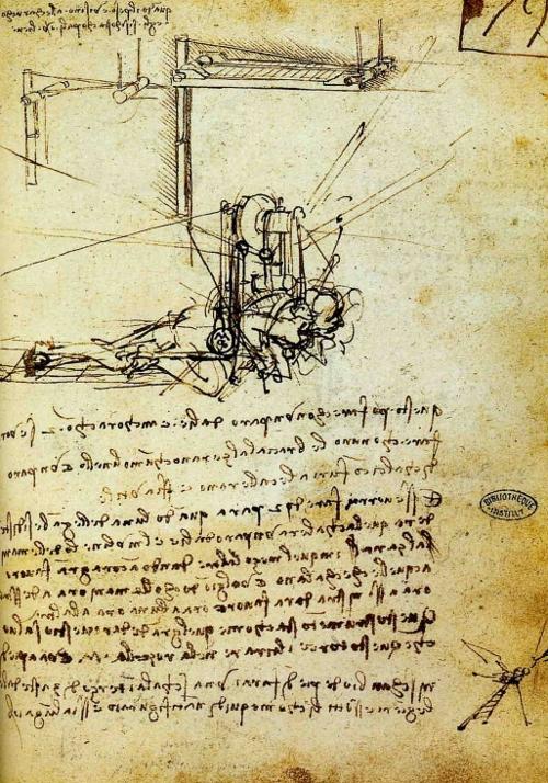 Leonardo da Vinci's sketch of a man-powered flying machine.