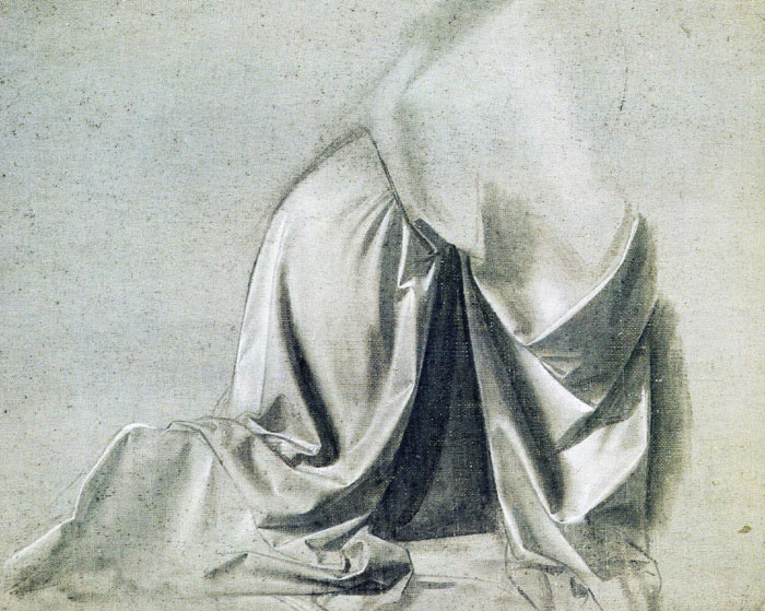 Drapery study for a kneeling figure, Leonardo da Vinci.