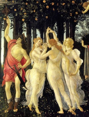 Detail from Primavera, Mercury and the Three Graces.