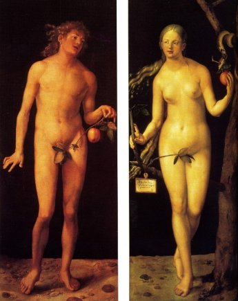 Adam and Eve oil painting panels by Albrecht Durer.