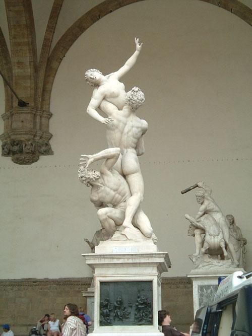 Rape of the Sabine Women, Giambologna, 1581-83. Loggia dei Lanzi, Florence, Italy