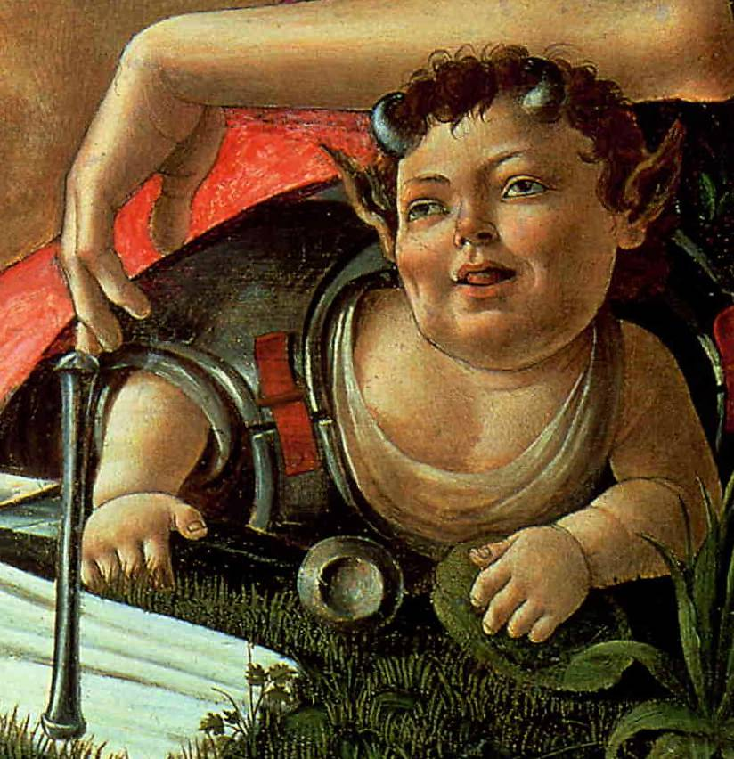 Cheeky Satyr, detail from Botticelli's Venus and Mars.