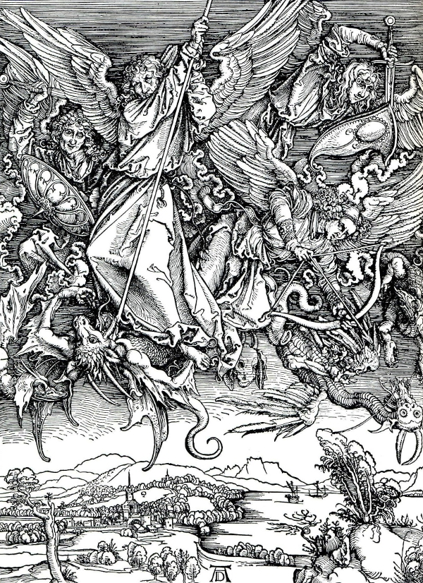 St Michael does battle with a dragon. Albrecht Durer's outstanding woodcut.