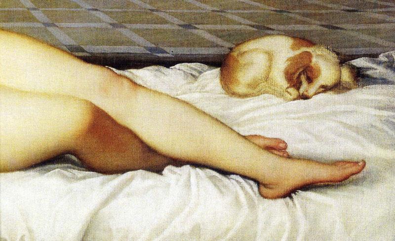 Detail of the sleeping dog from Titian's Venus of Urbino.