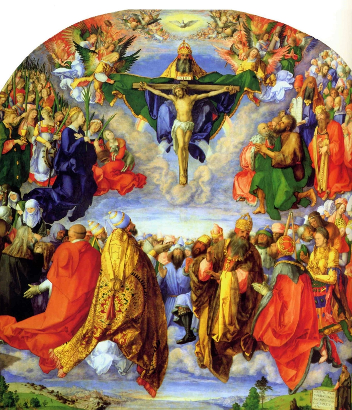 The centre piece of the Landauer Altarpiece showing the Adoration of the Trinity.