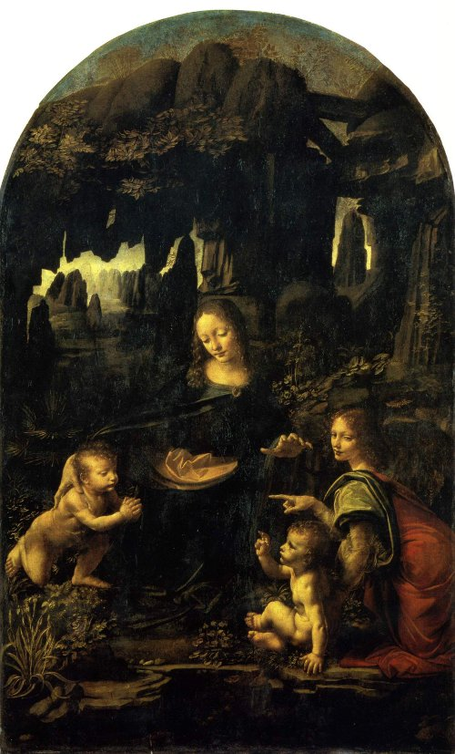 The Virgin of the Rocks, Paris version. Leonardo da Vinci
