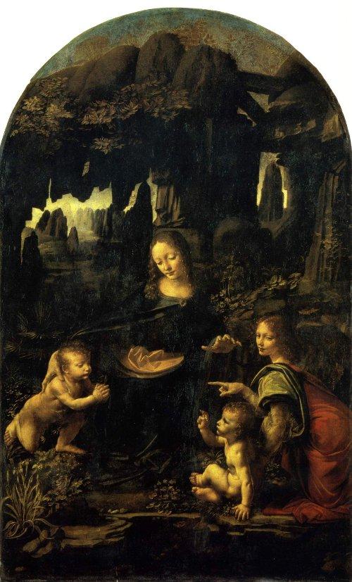 The Virgin of the Rocks, Paris version. Leonardo da Vinci