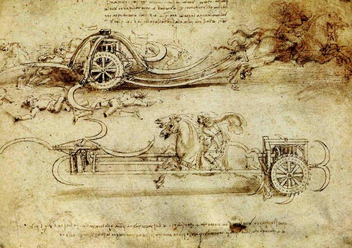 Leonardo da Vinci's design for a scythed chariot.