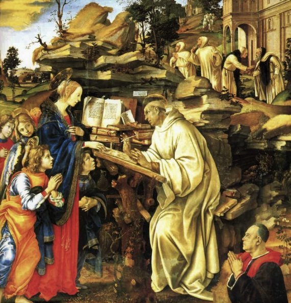 The Apparition of the Virgin to St Bernard by Filippino Lippi (1486) Oil on panel, 210 x 195 cm Church of Badia, Florence.
