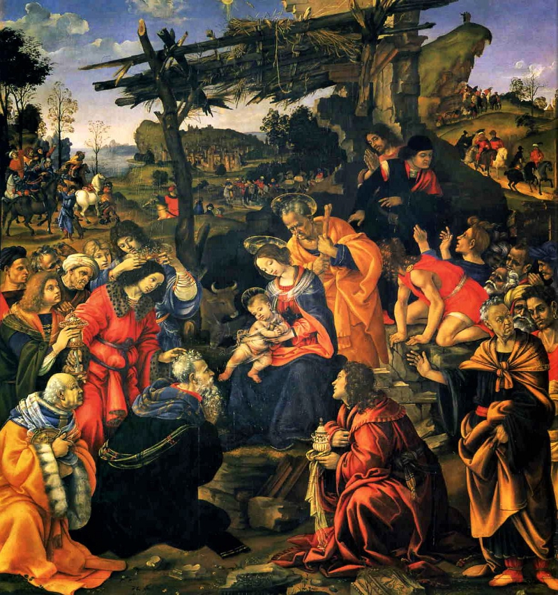 The Adoration of the Magi by Filippino Lippi, Oil on panel 258 × 243 cm Uffizi, Florence.